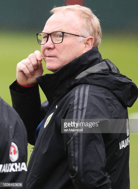 Scotland manager Alex McLeish is seen during a Scotland training session ahead of their International friendly match against Belgium at Orium...