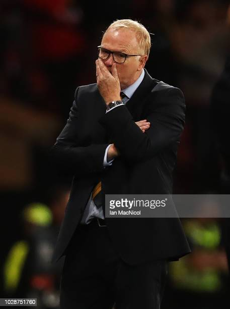 Scotland manager Alex McLeish is seen during the International Friendly match between Scotland and Belgium at Hampden Park on September 7 2018 in...