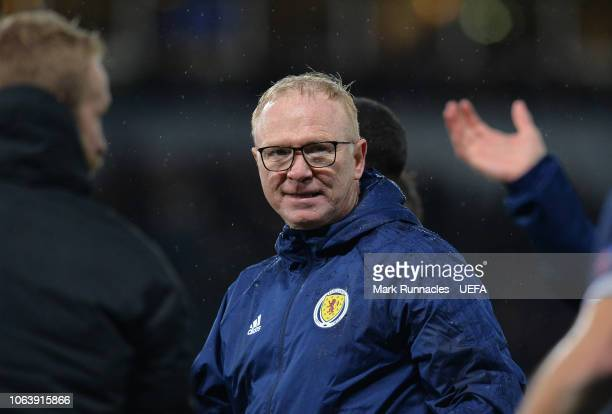 Scotland manager Alex McLeish looks on at the final whistle during the UEFA Nations League C group one match between Scotland and Israel at Hampden...