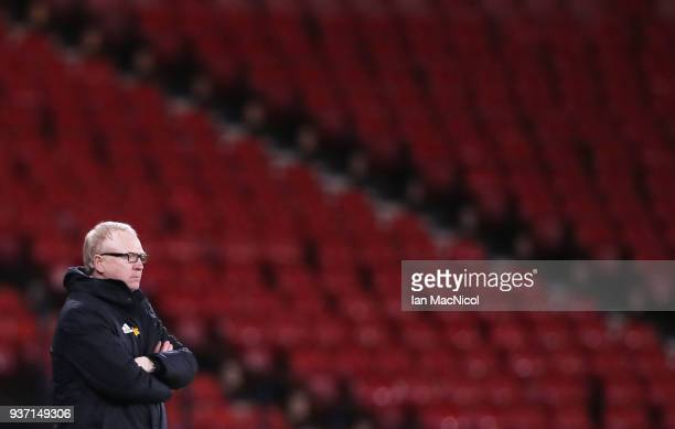 Scotland manager Alex McLeish looks on during the Vauxhall International Challenge match between Scotland and Costa Rica at Hampden Park on March 23...