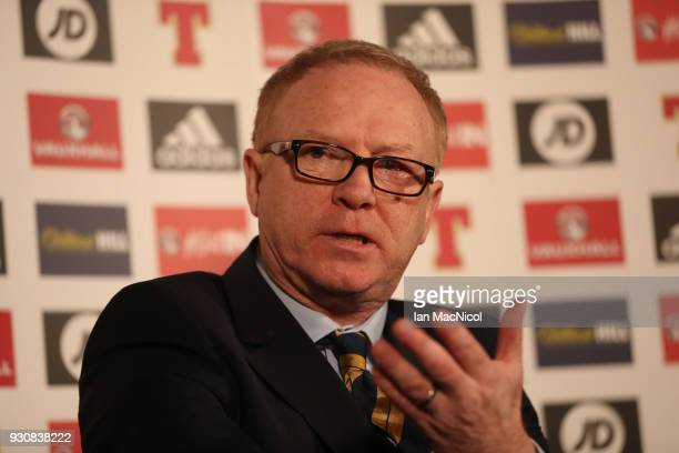 Scotland manager Alex McLeish makes his Scotland Squad Announcement at Hampden Park on March 12 2018 in Glasgow Scotland