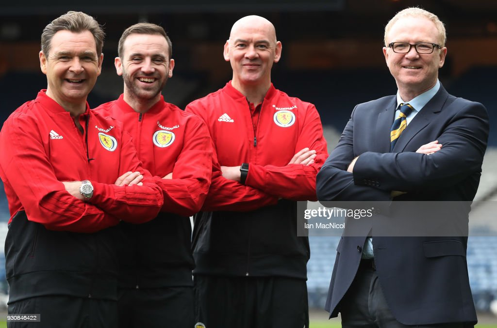Scotland manager Alex McLeish poses with his assistant coaches James McFadden, Peter Grant and Stevie Woods after he has made his Scotland Squad Announcement at Hampden Park on March 12, 2018 in Glasgow, Scotland.