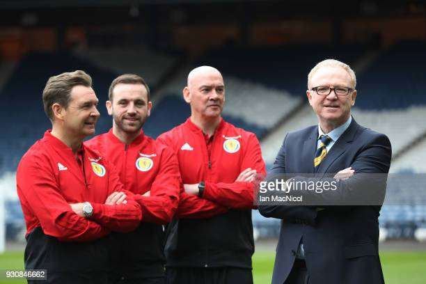 Scotland manager Alex McLeish poses with his assistant coaches James McFadden Peter Grant and Stevie Woods after he has made his Scotland Squad...