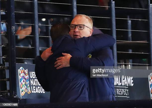 Scotland manager Alex McLeish reacts with his assistant James McFadden at the end of the UEFA Nations League C group one match between Scotland and...