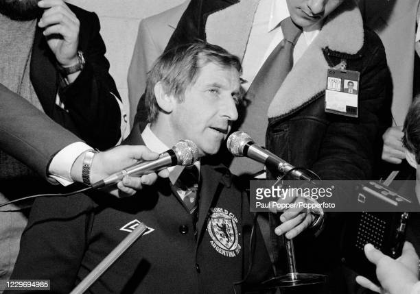 Scotland manager Ally MacLeod talks to the press after the FIFA World Cup Group 4 match between Scotland and Iran at the Estadio Chateau Carreras on...