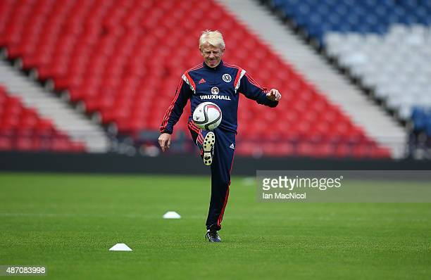 Scotland manager Gordon Strachan controls the ball during a training session ahead of their UEFA Euro 2016 qualifier against Germany at Hampden Park...