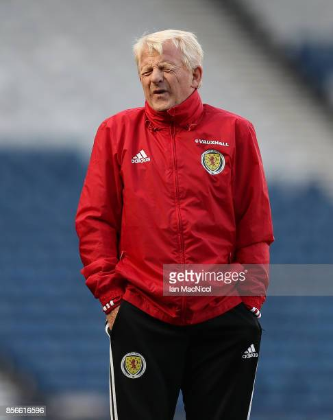 Scotland manager Gordon Strachan is seen during a training session ahead of the FIFA 2018 World Cup Qualifier against Slovakia at Hampden Park on...