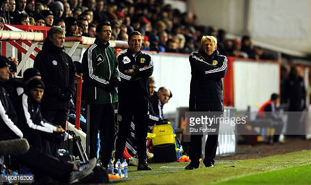 Scotland manager Gordon Strachan looks on during the International Friendly match between Scotland and Estonia at Pittodrie Stadium on February 6...