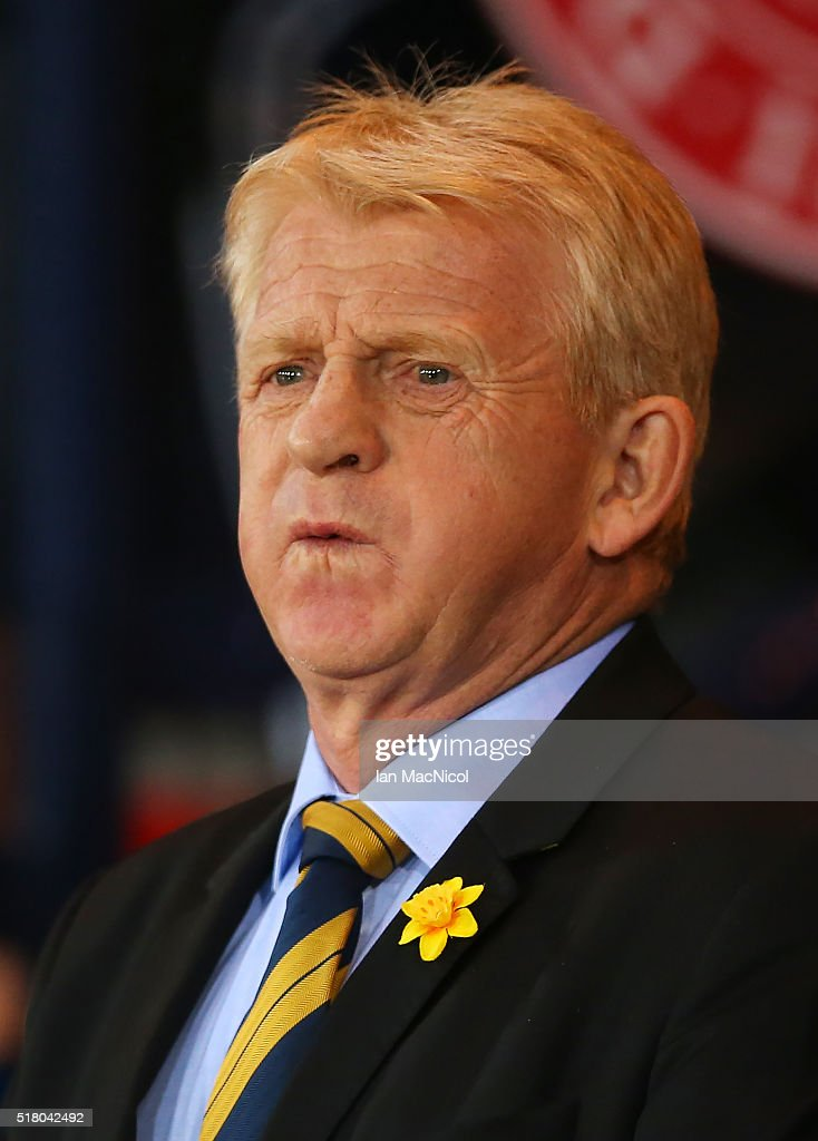 Scotland manager Gordon Strachan looks on during the International Friendly match between Scotland and Denmark at Hampden Park on March 29, 2016 in Glasgow, Scotland.