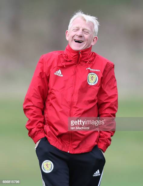 Scotland manager Gordon Strachan reacts during a training session at Mar Hall on March 23 2017 in Erskine Scotland