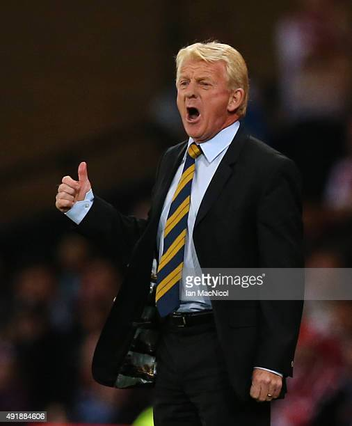 Scotland manager Gordon Strachan reacts during the UEFA EURO 2016 qualifier between Scotland and Poland at Hampden Park on October 08 2015 in Glasgow...