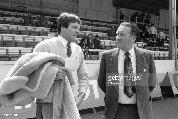 Scotland Manager Jock Stein chats with Swansea City Manager John Toshack ahead of Scotland's match against Wales