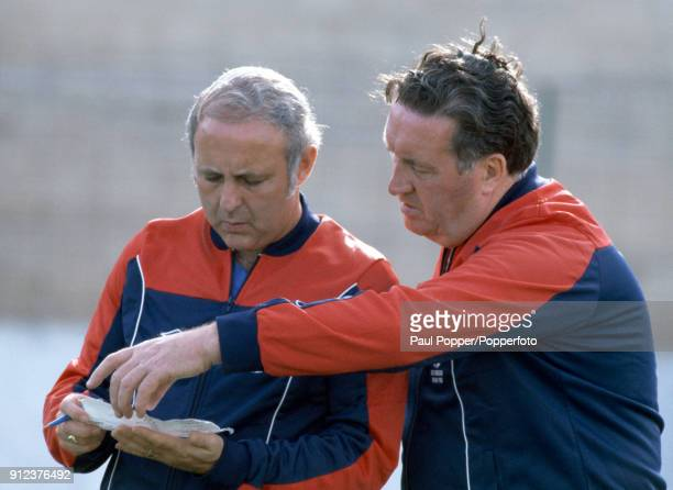 Scotland manager Jock Stein with his assistant Jim McLean during a Scotland training session prior to their FIFA World Cup match against New Zealand...