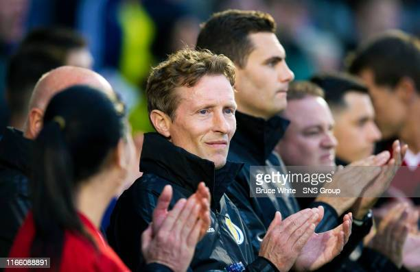 Scotland manager Sc is pictured during the UEFA Under 21's Championship Qualifier between Scotland and San Marino at the Simple Digital Arena on...