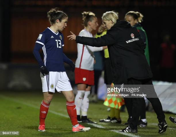 Scotland manager Shelley Kerr gives instructions to Jane Ross during the Women's World Cup Qualifying match at the Paisley 2021 Stadium, Paisley.