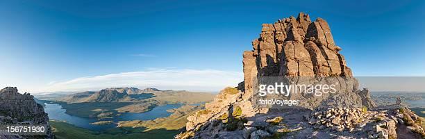 scotland mountain sunrise coigach stac pollaidh wilderness panorama - mountain ridge stock pictures, royalty-free photos & images