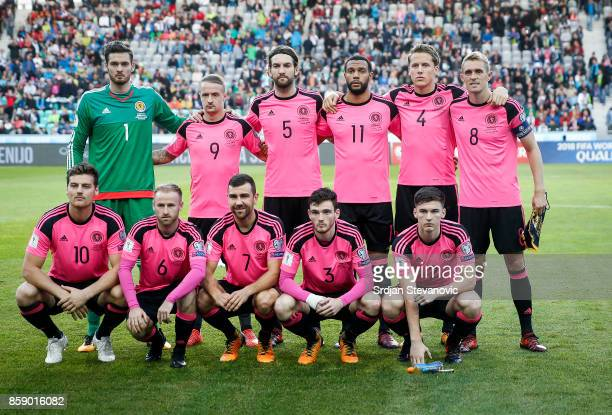 Scotland national football team pose for a photo prior to the FIFA 2018 World Cup Qualifier match between Slovenia and Scotland at stadium Stozice on...