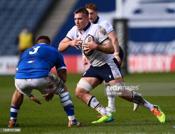 Scotland number 8 Matt Fagerson in action during the Guinness Six Nations match between Scotland and Italy at Murrayfield on March 20, 2021 in...
