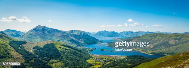 scotland panoramic mountain view across glencoe lochaber loch leven highlands - grampian scotland stock pictures, royalty-free photos & images