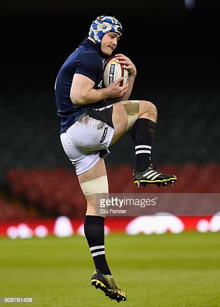 Scotland player David Denton in action during the Scotland Captains run ahead of their RBS Six Nations match against Wales at Principality Stadium on...