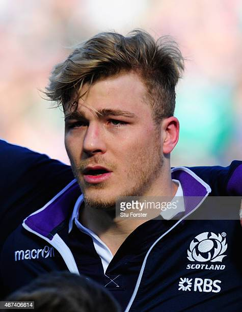 Scotland player David Denton pictured before the RBS Six Nations match between Scotland and Ireland at Murrayfield Stadium on March 21 2015 in...
