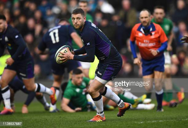 Scotland player Finn Russell in action during the Guinness Six Nations match between Scotland and Ireland at Murrayfield on February 09 2019 in...