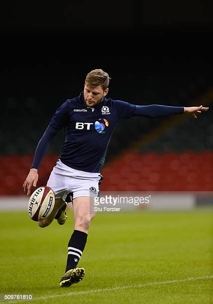 Scotland player Finn Russell in action during the Scotland Captains run ahead of their RBS Six Nations match against Wales at Principality Stadium on...