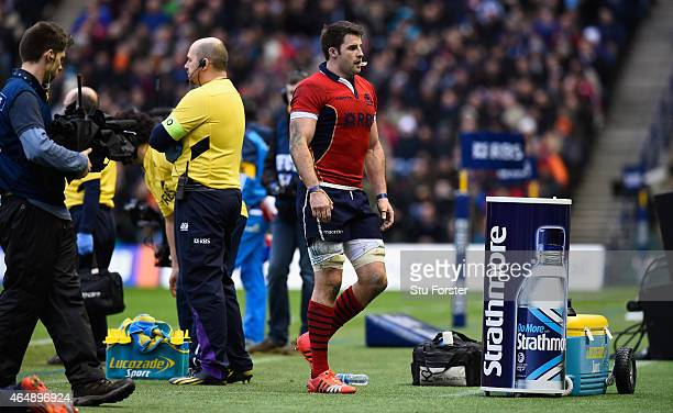 Scotland player Johnnie Beattie leaves the field during the RBS Six Nations match between Scotland and Italy at Murrayfield Stadium on February 28...