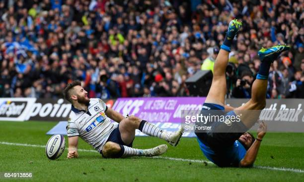 Scotland player Tommy Seymour scores the fourth and bonus point try during the RBS Six Nations match between Scotland and Italy at Murrayfield...