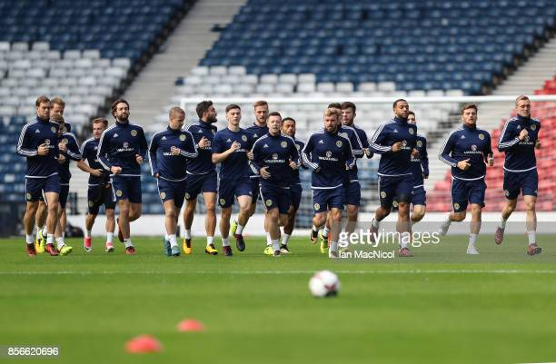 Scotland players are seen during a training session ahead of the FIFA 2018 World Cup Qualifier against Slovakia at Hampden Park on October 2 2017 in...