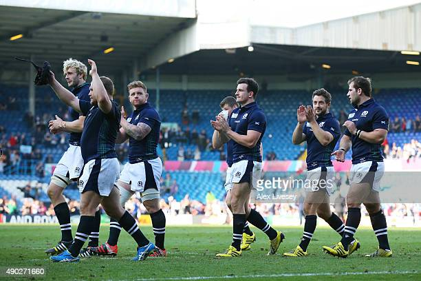 Scotland players celebrate after the 2015 Rugby World Cup Pool B match between Scotland and USA at Elland Road on September 27 2015 in Leeds United...