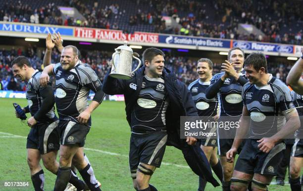 Scotland players celebrate following their 159 victory during the RBS Six Nations Championship match between Scotland and England at Murrayfield on...