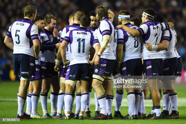 Scotland players discuss during the international rugby union test match between Scotland and New Zealand at Murrayfield stadium in Edinburgh on...