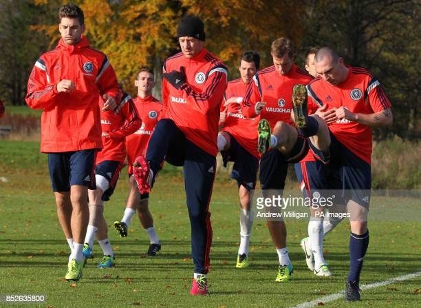 Scotland players including Charlie Adam during a training session at Mar Hall Glasgow