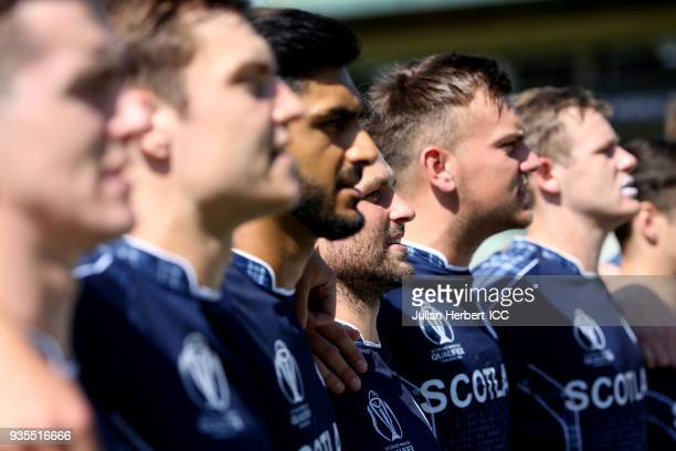 Scotland players lineup before the ICC Cricket World Cup Qualifier match between the West Indies and Scotland at the Harare Sports Club on March 21...