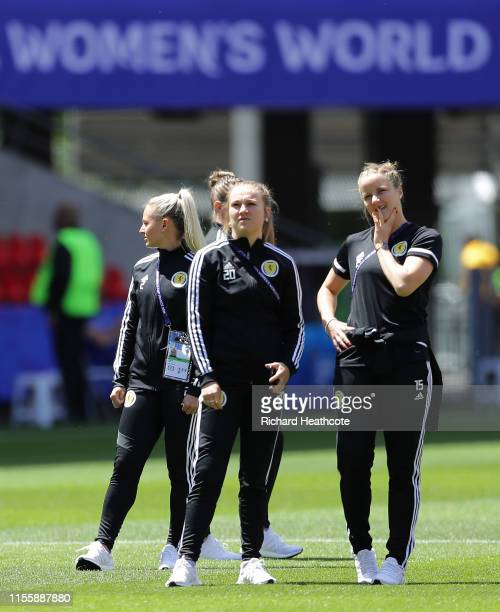 Scotland players look on during a pitch inspection prior to the 2019 FIFA Women's World Cup France group D match between Japan and Scotland at...