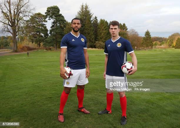 Scotland players Matt Phillips and Ryan Jack during the kit launch at the Dalmahoy Hotel Edinburgh