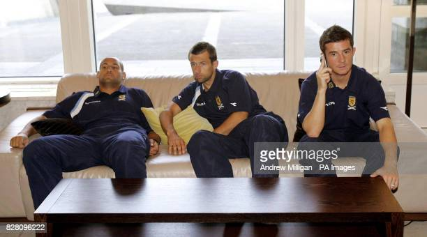 Scotland players Nigel Quashie Neil McCann and Barry Ferguson at the team hotel in Oslo Norway Tuesday September 6 2005 Scotland play Norway in a...