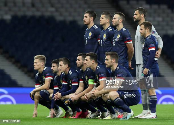Scotland pose for a team photo ahead of the UEFA Nations League group stage match between Scotland and Czech Republic at Hampden Park on October 14...