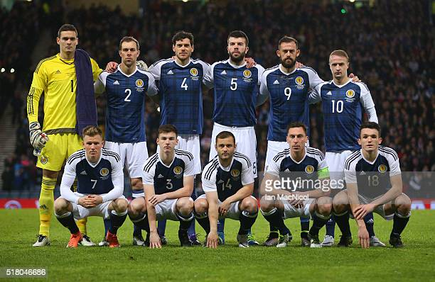 Scotland pose for a team photograph during the International Friendly match between Scotland and Denmark at Hampden Park on March 29 2016 in Glasgow...