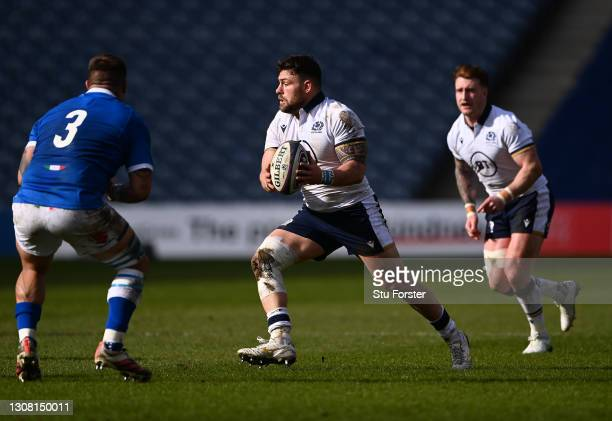 Scotland prop Rory Sutherland in action during the Guinness Six Nations match between Scotland and Italy at Murrayfield on March 20, 2021 in...