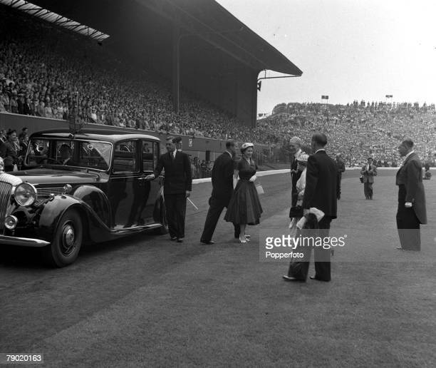 1953 Scotland Queen Elizabeth II visit to Scotland Her Majesty Queen Elizabeth II arrives at Hampden Park Glasgow for a youth rally