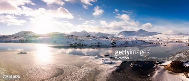 UK, Scotland, Rannoch Moor, Loch Ba and Black Mount Mountain Range in winter