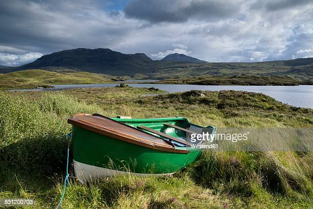UK, Scotland, rowing boat at the shore of Loch Assynt