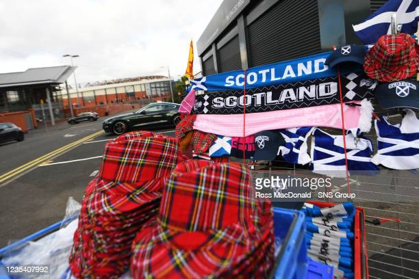 Scotland scarves for sale outside the ground ahead of kick off during a FIFA World Cup Qualifier between Scotland and Faroe Islands at Hampden Park...