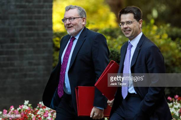 Scotland Secretary David Mundell and Housing Communities and Local Government Secretary James Brokenshire arrive for a Brexit cabinet meeting on...