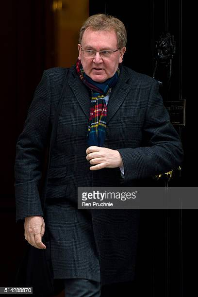 Scotland Secretary David Mundell departs Number 10 Downing Street after attending a cabinet meeting on March 8 2016 in London England Government...