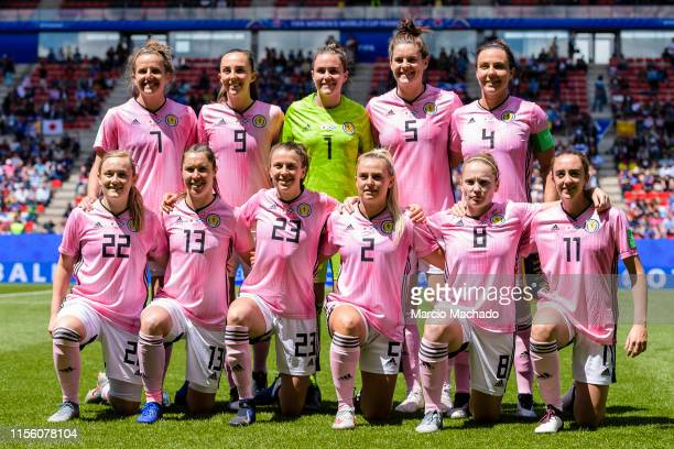 Scotland Squad pose for photos Hayley Lauder Caroline Weir Lee Alexander Jenny Beattie Rachel Corsie Erin Cuthbert Jane Ross Lizzie Arnot Kirsty...