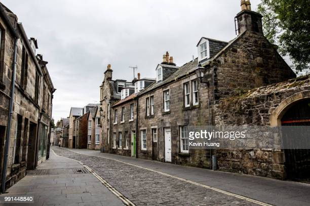 scotland: st. andrews street - cobblestone stock pictures, royalty-free photos & images