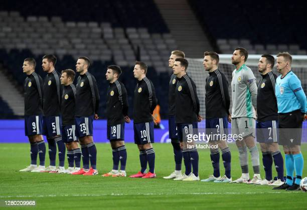 Scotland stand for the national anthem ahead of the UEFA Nations League group stage match between Scotland and Czech Republic at Hampden Park on...